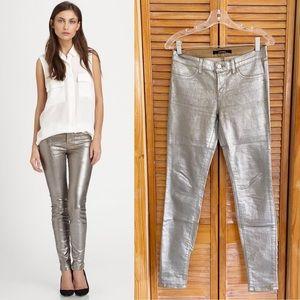J Brand Super Skinny Metallic Coated Crackle Pants